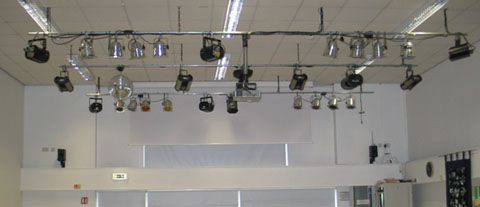 School hall with lighting rig
