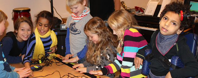 A group of mixed ability children playing using switches